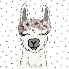 Alpaca with flowers Alpacas, Llamas Animal, Llama Drawing, Llama Face, Llama Arts, Llama Birthday, Arte Country, Animal Faces, Rock Art