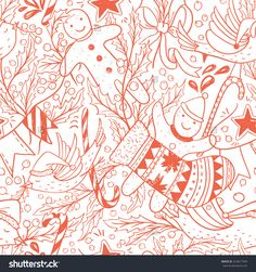 Christmas Vector Seamless Pattern With Hand Drawn Holiday Items - 224817349 : Shutterstock