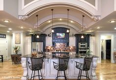 This barrel-vaulted #ceiling is the highlight of this #kitchen! The MacAllaster #838 - http://www.dongardner.com/house-plan/838/the-macallaster. #HomeDesign
