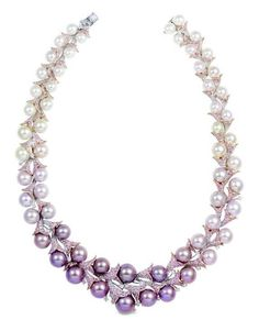 Yoko London Natural Color Pearl and Diamond Necklace