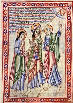 Christ Carrying a decorated pilgrims satchel. Christ on the road to Emmaus in the 12th century (ca. 1130's) St Albans Psalter.