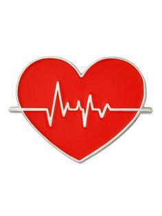 PinMart's Red Heart Beat American Heart Month Doctor Nurse Gift Enamel Lapel Pin (eBay Link)