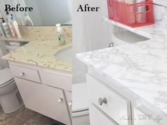 Kitchen Countertops Remodeling Amazing transformation with Marble Contact Paper! I can't believe it! - This contact paper countertop before and after will blow you away! It is the perfect budget-friendly solution for any rental bathroom and kitchen. Granite, Faux Marble Countertop, Bathroom Countertops, Bathroom Cabinets, Kitchen Cabinets, Cheap Countertops, Bathroom Hardware, Quartz Countertops, Kitchen Redo