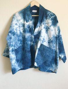 Linen Shibori cardigan, Indigo dyed kimono, Linen blazer, linen kimono cardigan, kimono with patch p Kimono Cardigan, Kimono Jacket, Kimono Style, Shibori, Indigo Clothing, Indigo Dye, Japanese Outfits, Linen Blazer, How To Dye Fabric