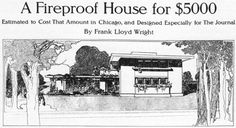 """Raymond W. Evans House, / 9914 South Longwood Drive, Chicago IL / 1908 / Prairie / Frank Lloyd Wright -- The house is based on Frank Lloyd Wright's design for """"A Fireproof House for $5,000"""", published in April 1907 an article for the Ladies Home Journal. This was Wright's third and final publication in the journal following """"A Home in a Prairie Town"""" and """"A Small House with 'Lots of Room in It'"""" from February and July 1901, respectively."""
