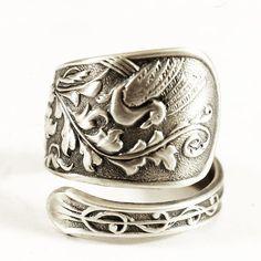 Rare Graceful Bird Spoon Ring Sterling Silver Art by Spoonier