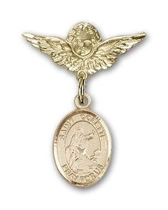 ReligiousObsession's 14K Gold Baby Badge with St. Colette Charm and Angel with Wings Badge Pin *** Find out more about the great product at the image link.