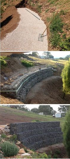 large gabion wall construction, note the use of temporary supports during construction, http://www.gabion1.com