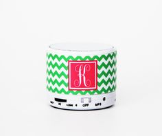 Grass Green Chevron Custom Monogram Wireless Bluetooth Mini Speaker