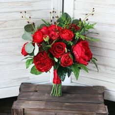 Gorgeous Red Rose Wedding Bouquet - red peonies and roses with greenery. Stems hand tied with a red ribbon. Item Length: inchesItem Height: inchesItem Weight: lbs Item Width: inchesAll bouquets are handmade to order - pleas. Red Flower Bouquet, Rose Bridal Bouquet, Silk Wedding Bouquets, Wedding Flower Arrangements, Wedding Centerpieces, Floral Arrangements, Wedding Flower Guide, Red Wedding Flowers, Prom Flowers