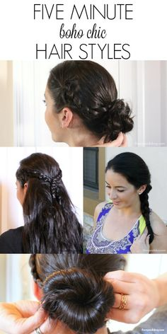 Five Minute Boho Chic inspired  Hair Styles with braided messy bun, curls, and more - for Women with Long Hair shown on long brunette hair #RethinkColour [ad]