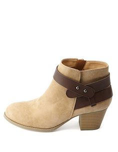 e04a7d639c20 City Classified Color Block Belted Ankle Boots  Charlotte Russe