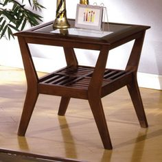 Virginia Beach by Furniture of America End Table CM4664E Dark Cherry