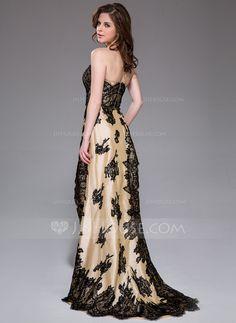Sheath/Column Sweetheart Asymmetrical Lace Zipper Up Strapless Sleeveless No Champagne Spring Summer Fall General Plus Taffeta Prom Dress
