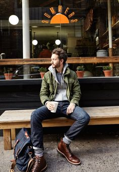 Men's Olive Military Jacket, Grey Hoodie, Navy and White Horizontal Striped Crew-neck T-shirt, Navy Jeans Hipster Stil, Moda Hipster, Style Hipster, Men Hipster Fashion, Hipster Outfits Men, Biker Fashion, Rugged Style, Street Style Inspiration, Style Brut