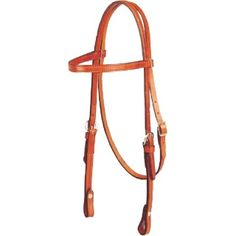 Western headstall, plain brow with leather reins  Color:  Chestnut