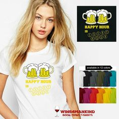 Funny Beer Tee Shirts Happy Hour is Every by Wine4Mankind on Etsy