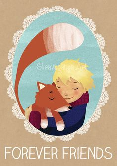 The little prince - forever friends, kids, wall art, nursery,  home decor, illustration, print