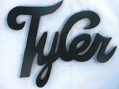 Lightyear Designs~ Custom Wood Name Signs: Tyler, Blake, and Mariah (New script style) Wood Name Sign, Wood Names, Name Signs, Tyler James, Custom Wood, Baby Names, Script, Grandkids, Art Ideas
