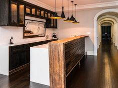 Get inspired by Modern Kitchen Design photo by Vanessa Deleon Associates. Wayfair lets you find the designer products in the photo and get ideas from thousands of other Modern Kitchen Design photos. Outdoor Kitchen Countertops, Outdoor Kitchen Bars, Kitchen Countertop Materials, Outdoor Kitchen Design, Wood Countertops, Kitchen Wet Bar, Wooden Kitchen, New Kitchen, Kitchen Ideas