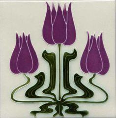 Art Nouveau-style tile, purple flowers, green stems, white background.