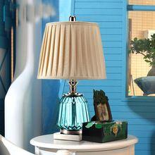 Moderne Art Deco Tafellamp Woonkamer Nachtkastje Lamp voor Slaapkamer Salon Woonkamer Blauw Glas Bureau Desktop Lamp(China (Mainland))