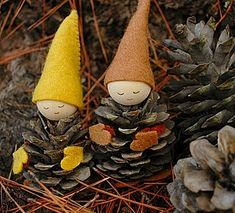 We Bloom Here pine cone gnomes
