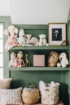 That green The post It Takes a Village: A Nursery Reveal Story for Birdie ({ wit delight }) appeared first on Children's Room. Nursery Room, Boy Room, Girl Nursery, Nursery Decor, Room Baby, Decor Room, Bedroom Wall, Bedroom Decor, Girls Bedroom