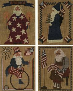 A delightful collection of four patriotic counted cross stitch Santa patterns with colored photos of stitched samples on on front of leaflet and