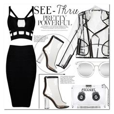 """""""It's All Clear Now"""" by es-vee ❤ liked on Polyvore featuring Chanel, Wanda Nylon, Quay, Tiffany & Co., clear, seethrough and Seethru"""