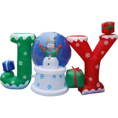 "6' Long Airblown Christmas Inflatable Static ""JOY"" Globe with Snowman Inside and Blinking Lights: Christmas Decor : Walmart.com"