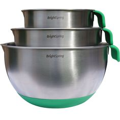BrightSpring Mixing Bowls - 3-piece Stainless Steel Set - Rubber Bottom, Measurements, Handle and Spout - Recipe eBook ^^ Save this wonderfull product : Baking mixing bowls