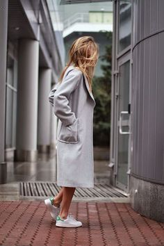 grey coat & sneakers #style #fashion