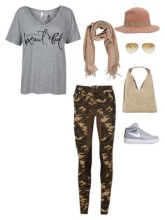 """Casual Weekend"" by uptownsweats on Polyvore featuring NIKE, INZI, Oliver Peoples, rag & bone, camoflage, women, fashionset, uptownsweats and 2kgrey"