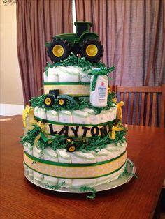 John Deere diaper cake