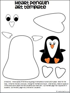 This is an adorable Penguin cut and paste art template made with heart shapes available for FREE on Madebyteachers.com.  This is great for penguin units all winter long and Valentine's day.