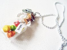 Mini Glass Jar Origami Wishing Star Necklace Charm by Barchen, $26.00