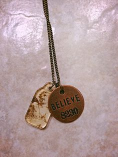 Charm necklace  angel charm  believe stamped by emmajanejewelry