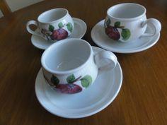 PORTMEIRION POMONA RARE SET OF 3 TEA CUPS & 3 SAUCERS ORIG NO BORDER hoary Apple