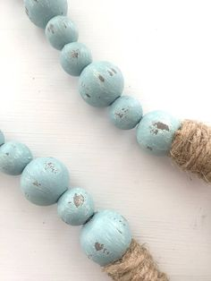 Turquoise Chippy Farmhouse Garland Beads, Wood Bead Garland, Home Decor Beads Farmhouse Christmas Decor, Farmhouse Decor, Christmas Diy, Farmhouse Style, Wood Bead Garland, Beaded Garland, Crafts To Make, Fun Crafts, Passementerie