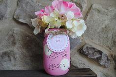 Mason Jar Baby Shower Centerpiece, Pink Baby Bib Shower Tag, Personalized Baby Shower Mason Jar, Baby Shower Table Centerpieces, It's A Girl by charmcitycharm on Etsy