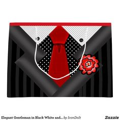 Elegant Gentleman in Black White and Red Large Gift Bag - This cool #gift_bag is perfect for the gentlemen in your life! Original design by Leslie Sigal Javorek creates the look of a #well-dressed #man (or woman) ready for a formal night out on the town, wearing a black satin tone-on-tone stripe #jacket w/dark gray satin lapels, a black & white polka dot shirt w/ black on white pin dot collar, a tomato #red_necktie and red #boutonniere.