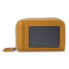 Guapabien Unisex RFID Mini Leather Wallet Bank/Name Card Holder Double Zipper Credit Card Holders Pillow ID Card Case Purses Bag
