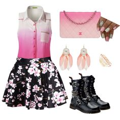 Blushing Pink by adeepzleep on Polyvore featuring polyvore fashion style Demonia Chanel Lane Bryant