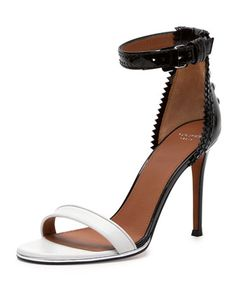 Brogue-Back Bicolor Ankle-Wrap Sandal by Givenchy at Bergdorf Goodman.