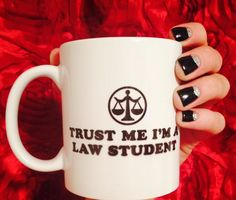 Black and silver nails half moon reverse French tip manicure law school law student humor trust me coffee mug