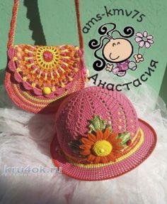 """Что может стать лучшим украшением для маленькой модницы в жаркие солнечные дни? Конечно же красивая вязаная шляпка! Изделие связано пряжей """"Ромашка"""" и """"Роза"""""""