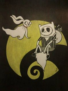 Finn and Jake from Adventure Time as Jack and Zero from The Nightmare Before Christmas!! This is the best post everr