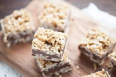 No Bake Chocolate Peanut Butter Oatmeal Bars — Buns In My Oven Easy Baking Recipes, Raw Food Recipes, Sweet Recipes, Cookie Recipes, Yummy Recipes, Healthy Recipes, Peanut Butter Oatmeal Bars, Chocolate Peanut Butter, Just Desserts