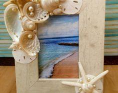 Playa decoración Seashell foto marco  Shell  por LiveCoastal